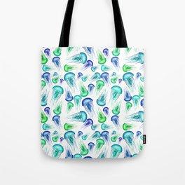 Bluegreen Jellyfish Watercolor Art Tote Bag