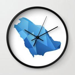 SAUDI ARABIA MAP IN BLUE SHINY DESIGN السعودية Wall Clock