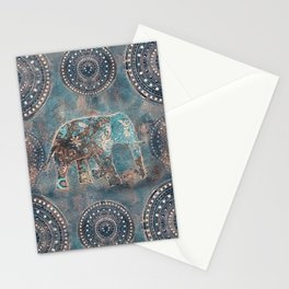 Elephant Ethnic Style Pattern Teal and Copper Stationery Cards