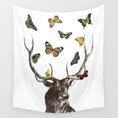 The Stag and Butterflies Wall Tapestry
