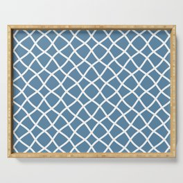 Grayish blue and white curved grid pattern Serving Tray