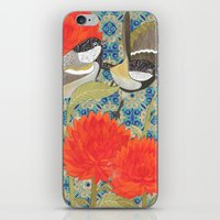 tits iPhone & iPod Skins featuring Coal Tits and Chrysanthemums by Divya Venkatesh