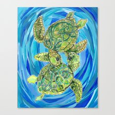 Sea turtle love Canvas Print