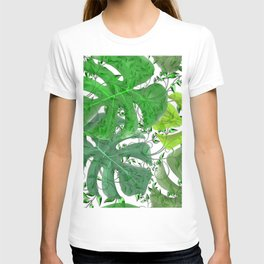 PALM LEAF B0UNTY GREEN AND WHITE T-shirt