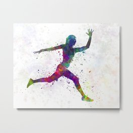 Woman runner running jumping Metal Print