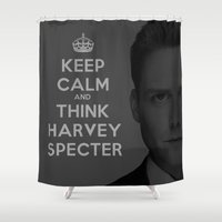 suits Shower Curtains featuring KEEP CALM - HARVEY SPECTER SUITS by Mental Activity