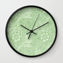William Morris - Marigold Pattern - Green Wall Clock
