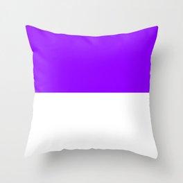 White and Violet Horizontal Halves Throw Pillow