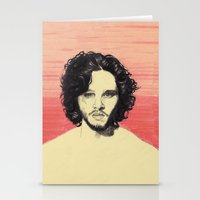 kit king Stationery Cards featuring Kit Harington by beecharly