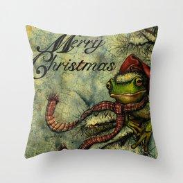 Felipe the Jolly Holiday Frog Throw Pillow