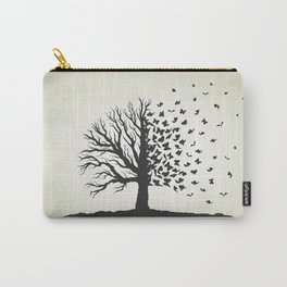 dried tree with branches and flying butterflies Carry-All Pouch