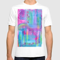 Pink with Blue Dots MEDIUM Mens Fitted Tee White