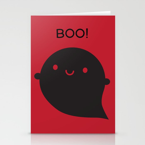 Evil Twin Black Ghost - Kawaii Halloween Stationery Cards