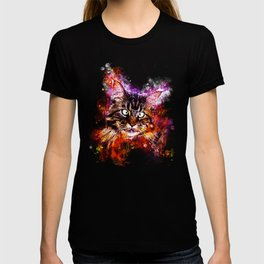 squinting maine coon cat splatter watercolor T-shirt