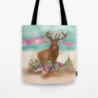 elk Tote Bags featuring Elk by Hollyce Jeffriess Designs