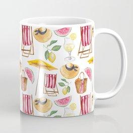 Summer pink yellow watercolor watermelon lemon nautical pattern Coffee Mug