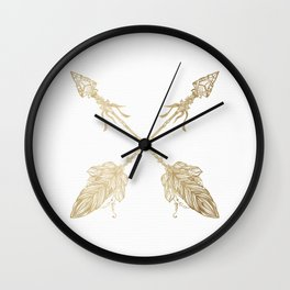Tribal Arrows Gold on White Wall Clock