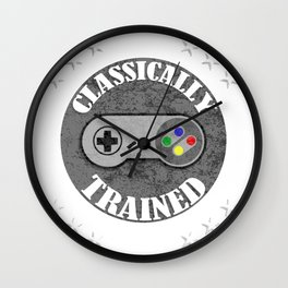 Classically Trained Retro 4 Button Video Game Shirt Wall Clock