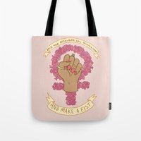 kendrawcandraw Tote Bags featuring Femme Is Not Fragile by kendrawcandraw