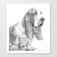 the hound Canvas Prints featuring Basset hound by Doggyshop