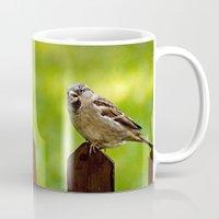 sparrow Mugs featuring sparrow  by Karl-Heinz Lüpke