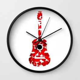Guitar with red hearts- musical valentine gifts Wall Clock