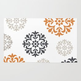 Flowers in Grey and Mustard Rug