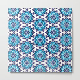 Beautiful Blue and Purple Beadwork Inspired Print Metal Print