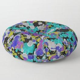 Dark Splatter - Abstract, paint splatter pattern in black, cyan, yellow, white and green Floor Pillow