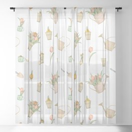 Elegant Tulips and Garden Tools Pattern Sheer Curtain