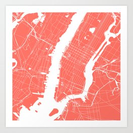 Living Coral New York City NYC Map II Art Print
