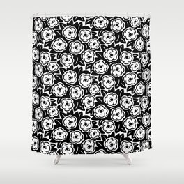 Flower Bouquet Pattern Black and White Shower Curtain