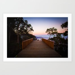 Sitting on the dock of the cliff Art Print