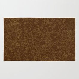Clockwork Retro / Cogs and clockwork parts lineart pattern in brown and gold Rug