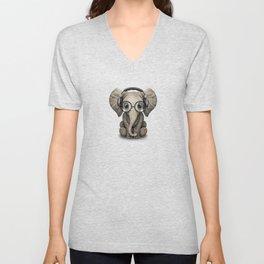 Cute Baby Elephant Dj Wearing Headphones and Glasses on Blue Unisex V-Neck