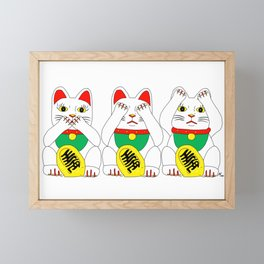 Three Wise Lucky Cats Framed Mini Art Print