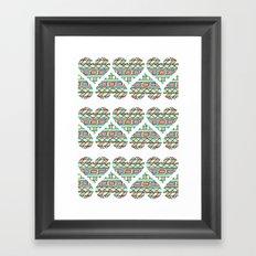 Aztec hearts Framed Art Print