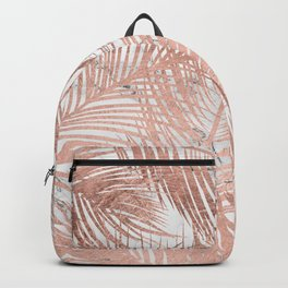 Tropical modern faux rose gold palm tree leaf white marble pattern Backpack