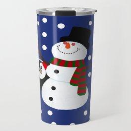 Cute Penguin Snowman Holiday Design Travel Mug