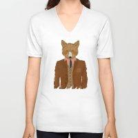 mr fox V-neck T-shirts featuring mr fox by bri.buckley