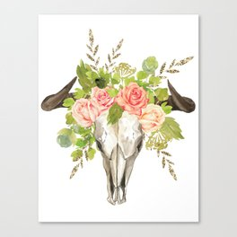 Bohemian bull skull and antlers with flowers Canvas Print
