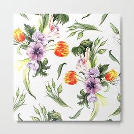 Watercolor spring floral pattern Metal Print