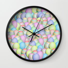 Pastel Colored Easter Eggs Wall Clock