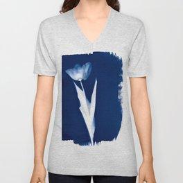 Tulip III - Cyanotype Unisex V-Neck