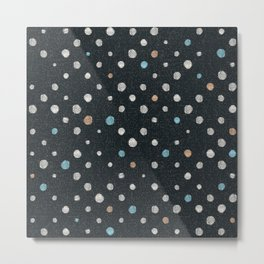 LOTS OF DOTS / black / linen beige / light blue / rose beige Metal Print