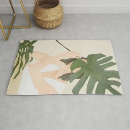 Under the Monstera Leaf Rug