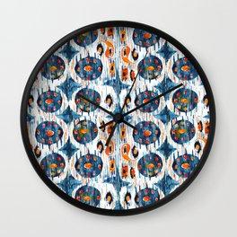blue circle balinese ikat print mini Wall Clock