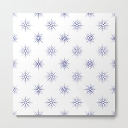 Seamless pattern with blue snowflakes on white background Metal Print