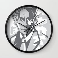 kafka Wall Clocks featuring Kafka portrait in Greys by aygeartist