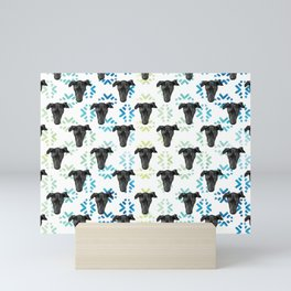 Black Puppy Faces & Abstract Blue Patterns Mini Art Print
